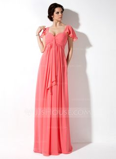 Bridesmaid Dresses -Empire Sweetheart Floor-Length Chiffon Bridesmaid Dress With Cascading Ruffles in the fuchsia color
