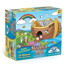 The best first puzzle!  Only 12 pieces, simple colorful animal graphics and thick, coated pieces make this puzzle a perfect beginning toy.  Help your young one put the story of Noah together with this bright puzzle!