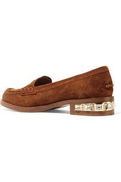 Miu Miu Crystal-embellished suede loafers $895 Heel measures approximately 25mm/ 1 inch Brown suede Slip on Made in Italy