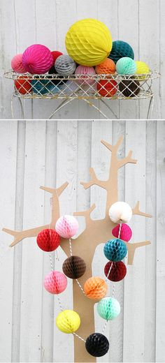 Paper balls Modern Christmas, Christmas Time, Paper Balls, Prom 2014, Paper Crafts, Diy Crafts, Handmade Ornaments, Pom Poms, Deco