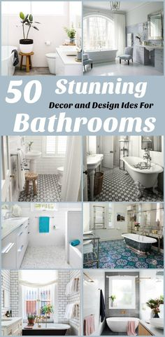 Bathroom Decor and Design Ideas. These Bathroom Decor and Design ideas can be considered while you remodel your current Bathroom or you plan for new Bathroom designs in your next home. Pinning thee beautiful Bathroom decor and design ideas for future reference.