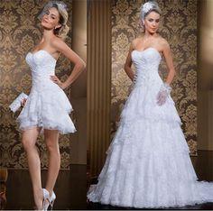Vestido De Noiva Short and Long two pieces A-line Beading Detachable Bridal Gown Vestidos De Renda Lace Wedding dress 2017