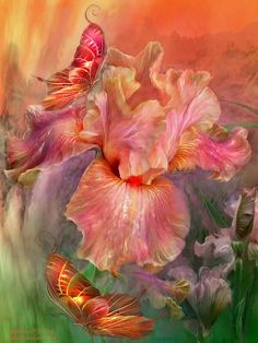 Language Of Flower Series: Goddess Of Spring Flower With Two Butterflys Digital Art Painting