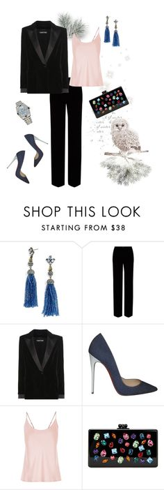 """New year"" by murenochek ❤ liked on Polyvore featuring BaubleBar, Roberto Cavalli, Tom Ford, Christian Louboutin, Edie Parker, Rolex, velvet and newyear"