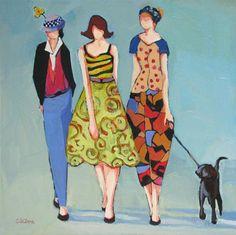 """Walking with Friends"" - Original Fine Art for Sale - © Carolee Clark Art Deco Paintings, Original Paintings, Friendship Art, Art Deco Illustration, Illustrations, Clark Art, Daily Painters, Dog Wallpaper, Dog Lady"