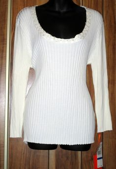 NWT Woman's Hearts of Palm White Ribbed Scoop Necked Sweater Size XL MSRP $50 Now $9.87
