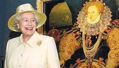 Photo of Her Majesty Queen Elizabeth II alongside a portait of Queen Elizabeth I.
