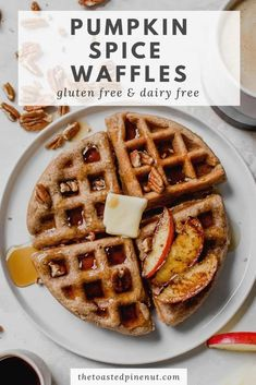 These pumpkin spice waffles are the perfect easy brunch! They're fluffy, gluten free, and delicious with maple syrup or vanilla ice cream. thetoastedpinenut.com #thetoastedpinenut #pumpkinspice #pumpkinwaffles #glutenfreewaffles