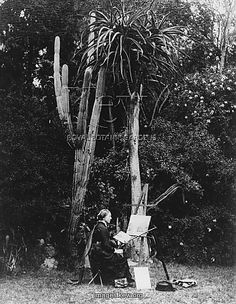 Marianne North painting in South Africa [Image - Royal Botanical Gardens, Kew, c. Kew Gardens, Plant Illustration, Botanical Illustration, Botanical Art, Botanical Gardens, Marianne North, Library Art, A Day In Life, Artist Art