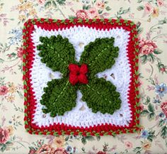 Holly granny square (from a book). Love this. #christmas