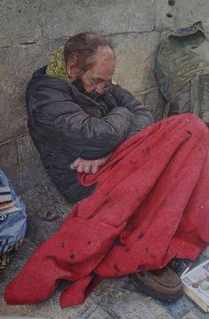 """Saatchi Art Artist james earley; Painting, """"homeless man carcassonne"""" #art"""
