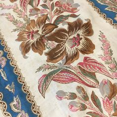 Antique French Curtains - so much fabric, they are very long and such vibrant colours. They were around a bed in a chateau so not too much fading. French Curtains, Vibrant Colors, Colours, Vintage Textiles, Historic Homes, French Antiques, Repurposed, Florals, Upcycle