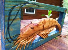 Framed Shrimp sculpture 12x24 detailed woodworking by oceanarts10, $95.00