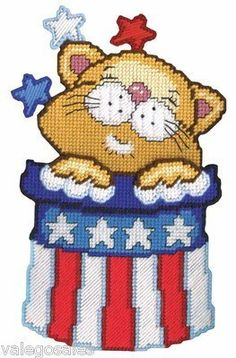Design Works Plastic Canvas Kit Patriotic Cat Wall Decor #DIY #crafts #decor #needlework