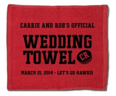 Your guests will love our custom designed wedding towel guest favors!  #hockeywedding #stwdotcom