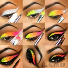 Multi colored and winged cat liner