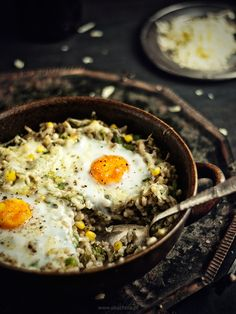 Groats Roasted with Vegetables, Smoked Cheese and Eggs