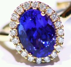 NEW 5.02CT 14KT GOLD NATURAL AAA TANZANITE ROUND WHITE DIAMOND ENGAGEMENT RING in Jewelry & Watches, Jewelry & Watches | eBay