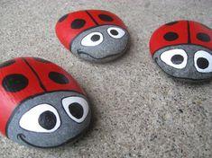Hand Painted Lake Superior Ladybug Garden Stones by TheTroveShoppe Stone Crafts, Rock Crafts, Arts And Crafts, Ladybug Rocks, Ladybugs, Painted Rocks, Hand Painted, Ladybug Garden, Rock Painting Designs