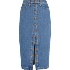 Madewell Denim midi skirt (176 AUD) ❤ liked on Polyvore featuring skirts, blue, madewell skirt, knee length denim skirt, madewell, blue midi skirt and midi skirt