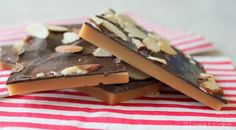 Perfect English Toffee: this is it folks! How to make toffee that isn't soft and gritty! not healthy but it is toffee! I think it would be nice with broken pieces of candycane on top instead of nuts Candy Recipes, Sweet Recipes, Dessert Recipes, Dessert Ideas, Just Desserts, Delicious Desserts, Sweet Desserts, English Toffee Recipe, Chocolate Sticks