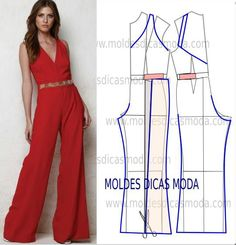 MOLDE DE MACACÃO VERMELHO, You can collect images you discovered organize them, add your own ideas to your collections and share with other people. Jumpsuit Pattern, Pants Pattern, Dress Sewing Patterns, Clothing Patterns, Wedding Dress Patterns, Diy Clothing, Sewing Clothes, Fashion Sewing, Diy Fashion