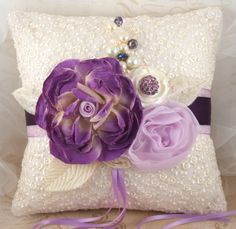 Ring Bearer Pillow - Bridal Pillow in Cream and Purple with Silk, Satin, Chiffon Flowers and Pearls.