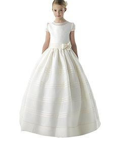 6a9f6145f33e1 Angela Satin White Pageant Dress Ball Gown Flower Girl Dresses Long Cheap  First Communion