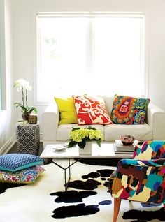 home decor, bright coloured throw cushions and patterns.