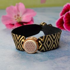 Flower Of Life Symbol, Elastic Ribbon, Zero Waste, Handmade Bracelets, Pink And Gold, Jewelry Crafts, Bracelet Watch, Unique Gifts, Christmas Gifts