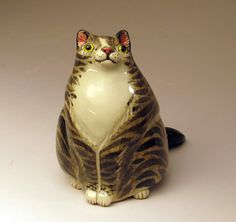 Portly Tabby Cat Sculpture / Rattle - Hand sculpted from white stoneware clay
