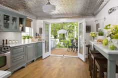 beautiful kitchen with silvered tin ceiling tiles - I'm SO using these in my home! Grey Painted Kitchen, Sweet Home, Romantic Room, Ceiling Treatments, Painting Kitchen Cabinets, Kitchen Backsplash, Beautiful Kitchens, Interiores Design, Home Kitchens