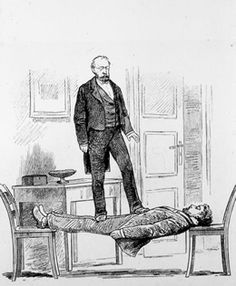 Hypnotism was in its heyday. One popular show trick: the human plank. A hypnotized subject suspended between two chairs stiff as a board.