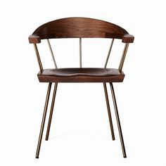 "Spindle chair BassamFellows walnut modern craftsman dining 22.5""w 20.3""d 29.0""h 17.6""seat ht 25.5""arm height"