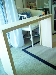 DIY Sofa Table THIS IS EXATLY WHAT I'VE BEEN LOOKING FOR! putting one between levi's couch and the wall.