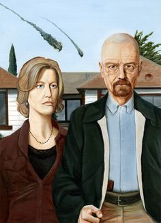 The Heisenbergs, A Breaking Bad Remix of 'American Gothic' - the pizza on the roof makes me laugh