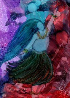 Magical Hula Girl 1 Original Alcohol Inks on Yupo by kauaiartist, $35.00