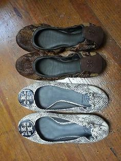 Tory Burch Shoe Lot two pairs Size 9 M Animal Reptile Calf Hair ballet Flats AUCTION