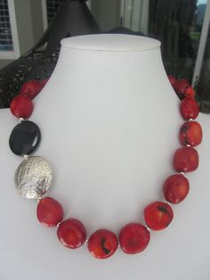 Coral Onyx and Sterling Silver Necklace N542013. YOU CAN FIND THIS STYLE & OTHER DESIGNS ON https://www.etsy.com/shop/JKCustomDesigns