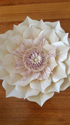 Paper Flower Templates Pdf, White Paper Flowers, Flower Center, Print And Cut, Digital, Create, Party, Paper Envelopes, Paper Flower Templates