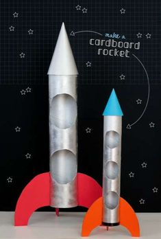 "DIY Cardboard Rocket Toy for Children. Now, it is time to create a fun toy for your kid. Well, your child can ""help"" you out a little too since this DIY cardboard rocket is quite easy to make. Craft Activities For Kids, Projects For Kids, Diy For Kids, Crafts For Kids, Cardboard Rocket, Cardboard Crafts, Cardboard Rolls, Space Party, Space Theme"
