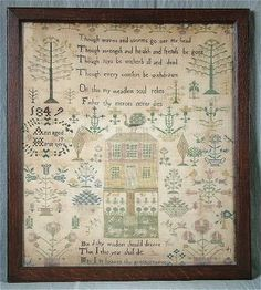 """There is a homespun feel to this sampler, and I get a """"Secret Garden"""" vibe from it.  The colors are soft and pretty, and the foliage is fanciful and looks fun to stitch.  The garden in front of the house reminds me of current day Shepherd's Bush designs."""