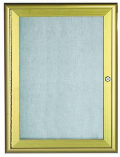 OWFC3624G. Enclosed Bulletin Board with Aluminum Waterfall Style Frame. Frame is Gold. Back Panel is Neutral Burlap Weave Vinyl. 36″Hx24″W. One Door