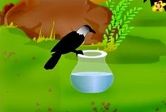 The thirsty crow flies down to the pot