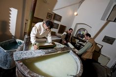 The Paper and Watermark Museum - papermakers masters at work - Fabriano (Marche - Italy)
