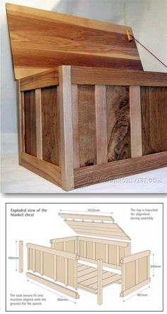 Blanket Box Plans Furniture Plans And Projects Woodarchivistcom Woodworking Furniture Plans, Easy Wood Projects, Woodworking Projects That Sell, Diy Woodworking, Furniture Projects, Project Ideas, Woodworking Equipment, Woodworking Patterns, Popular Woodworking