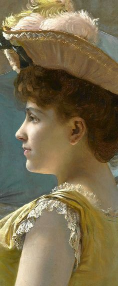 """""""Looking Out to Sea"""" by Alfred Stevens (1823-1906), detail"""