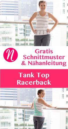 Tank Top für Damen mit Racerback - Kostenloses Schnittmuster & Nähanleitung ❤ XS - XXL ❤ Nähtalente - Magazin für kostenlose Schnittmuster -- Free sewing pattern for a woman tank top with racerback. Size XS - XXL