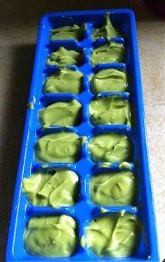 """Avocado + breast milk puree, aka """"Baby Guacamole"""" - great way to use up extra breast milk!"""