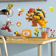 Bring the characters from your favorite game to your walls! Cover your bedroom or game area with the little Italian plumber and his friends by applying these resticakble wall decals which includes dozens of different stickers to create your own scene.